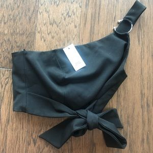 River Island Black One Shoulder Crop Top